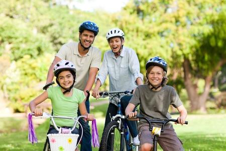 Family with their bikes Stock Photo - 10217541