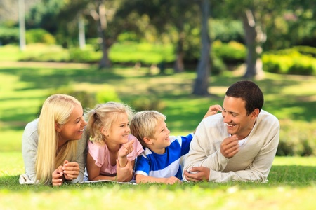 Family lying down in the park Stock Photo - 10216289