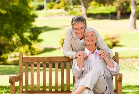 elderly couples: Senior couple on the bench
