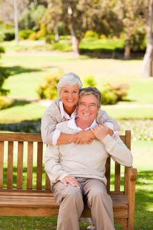 Elderly couple in the park photo