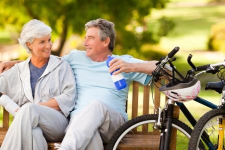 Elderly couple with their bikes Stock Photo - 10217942