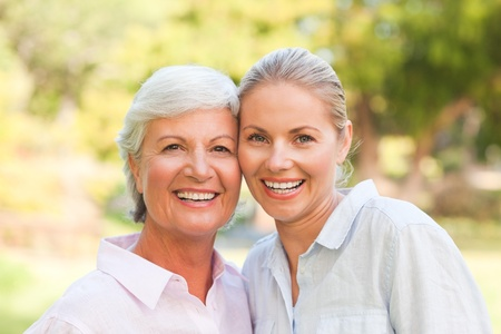 daughter mother: Mature mother with her daughter Stock Photo