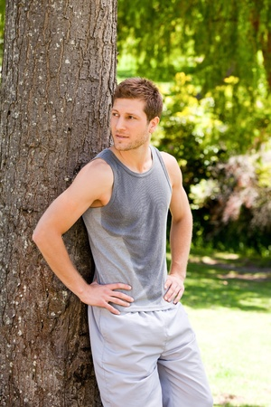 Man exhausted after the gym Stock Photo - 10220680