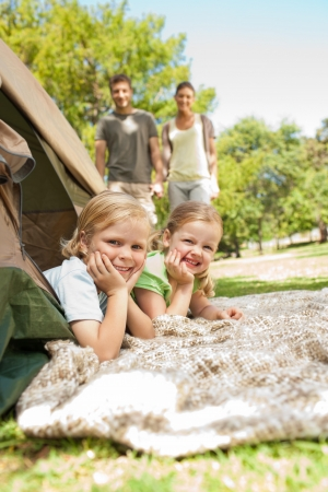 Happy family camping in the park Stock Photo - 10216201