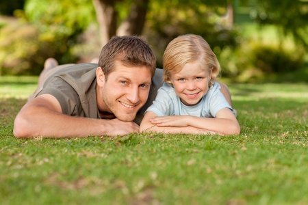 Father and his son in the park photo
