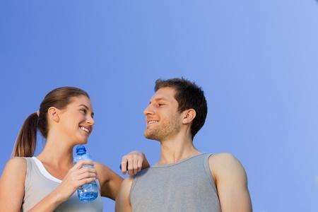 Happy sporty couple photo