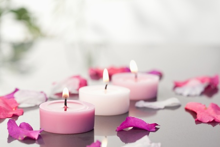 Lighted candles and petals Stock Photo - 10219688