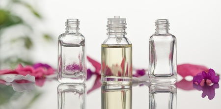 Glass flasks with leaves and pink petals focus on the flasks photo