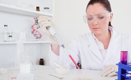 anaemia: Cient�fico pelirroja hermosa con la pipeta en un laboratorio