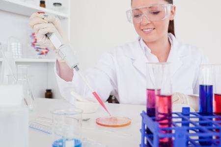 anaemia: Cient�fico bastante pelirrojo mediante una pipeta en un laboratorio