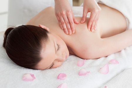 Beautiful woman having a back massage surrounded by petals Stock Photo - 10219257