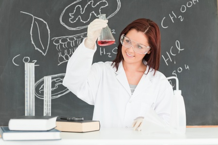 Young scientist looking at a conical flask in a classroom Stock Photo - 10220502