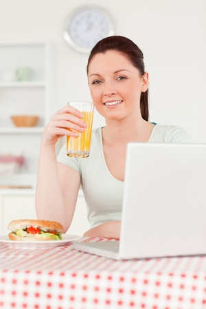 Smiling woman relaxing on her laptop and posing while drinking a glass of orange juice in her kitchen photo