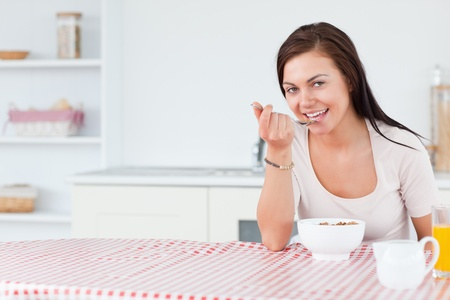 Beautiful woman eating her breakfast in her kitchen Stock Photo - 10221135