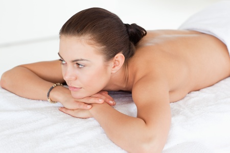 Close up of a woman lying on her belly on a massage table in a spa Stock Photo - 10221179