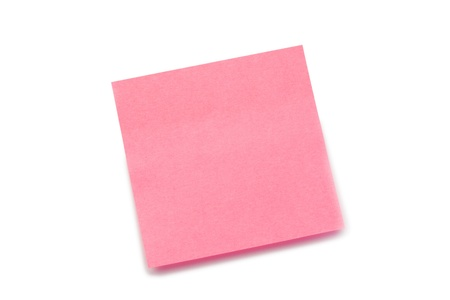 Pink post-it on a white background Stock Photo - 10231688