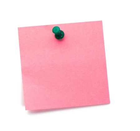 errand: Pink post-it with drawing pin on a white background