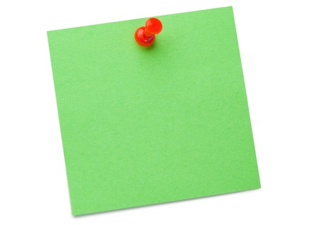 sticky hands: Green post-it with drawing pin on a white background