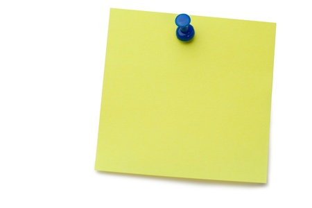 Yellow post-it with drawing pin on a white background photo