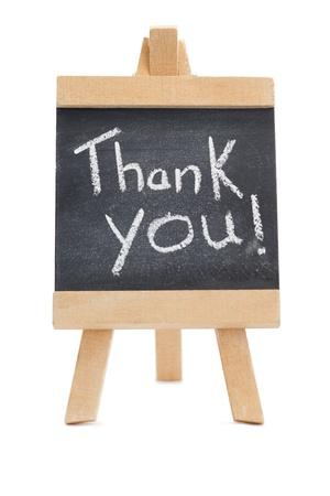 Chalkboard mit den Worten: Vielen Dank an ihn geschrieben isoliert vor einem wei�en Hintergrund