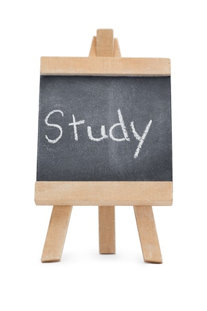 Chalkboard with the word study written on it isolated against a white background Stock Photo - 10231925