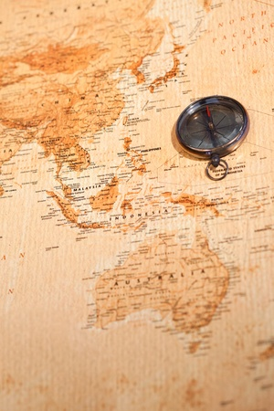 calamita: Mappa del mondo con bussola mostrando Oceania Archivio Fotografico