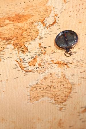 mágnes: Világ térkép iránytű mutatja Óceánia Stock fotó