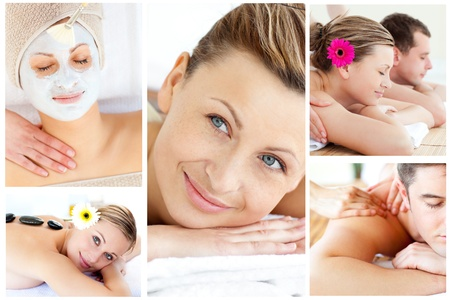 body spa: Collage of young people relaxing in a Spa centre Stock Photo