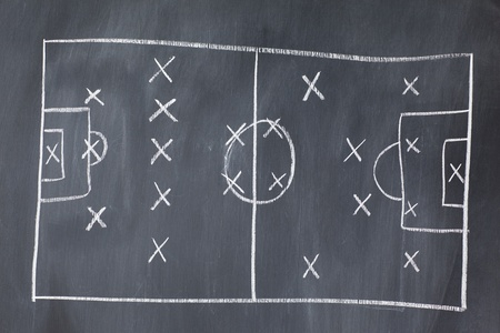 Soccer football Strategy on blackboard photo
