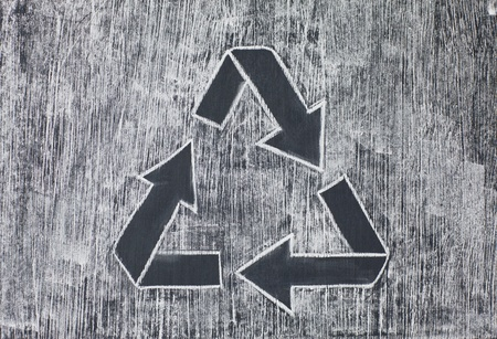 chalky: Recycle symbol on a white chalky background