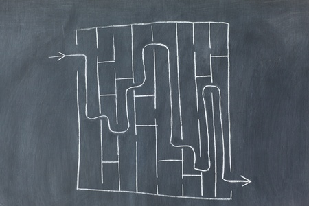 Labyrinth on a blackboard Stock Photo - 10233692