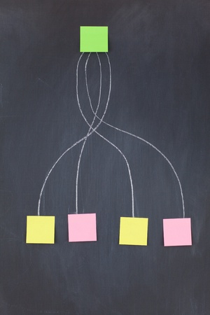 Green sticky note bound to others on a blackboard Stock Photo - 10233661