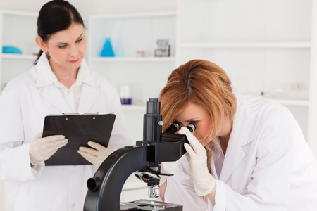 lab test: Blond-haired scientist and her assistant conducting an experiment in a lab