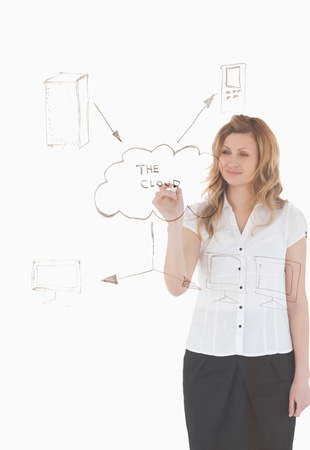 Blond-haired woman making a scheme looking towards the camera on a white background Stock Photo - 10068495