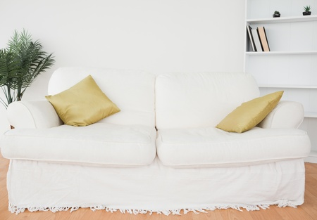 White leather sofa in the living room photo