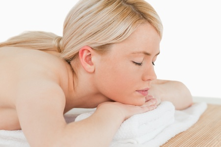 Young pretty blonde female relaxing in a spa centre Stock Photo - 10196715