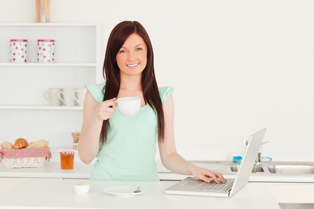 Charming red-haired female relaxing with her laptop in the kitchen in her appartment Stock Photo - 10068821