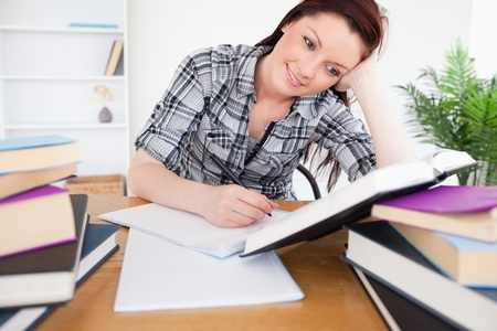 Beautiful red-haired female studying at her desk photo