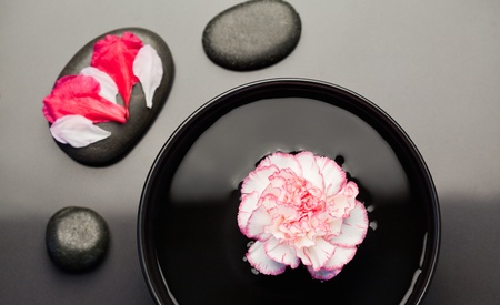White and pink carnation floating on a bowl withblack stones around it and petals on one of the stone photo