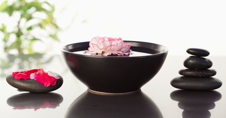 Pink carnation floating in a bowl with petals on a black stone on one side and a stack ok black stones on the other side photo