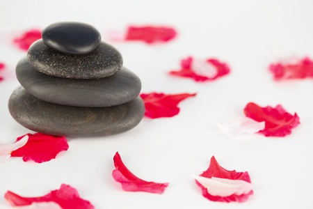 Pink petals and pebbles stack Stock Photo - 10073195