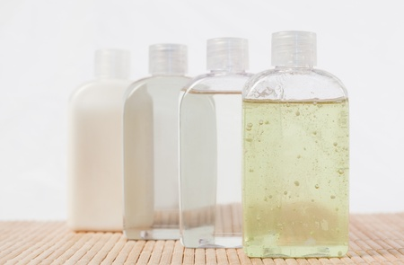 Close up of massage oil bottles photo