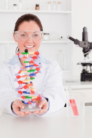 Portrait of a beautiful scientist showing the dna double helix model photo