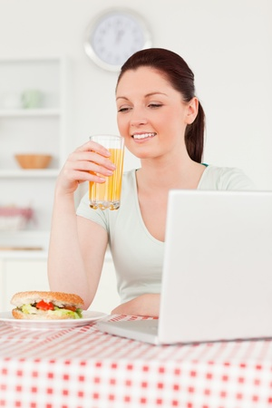 Good looking woman relaxing on her laptop and posing while drinking a glass of orange juice in her kitchen photo