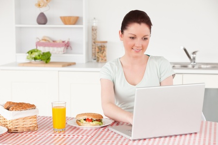 Beautiful woman posing while relaxing with her laptop at lunch time in her kitchen photo