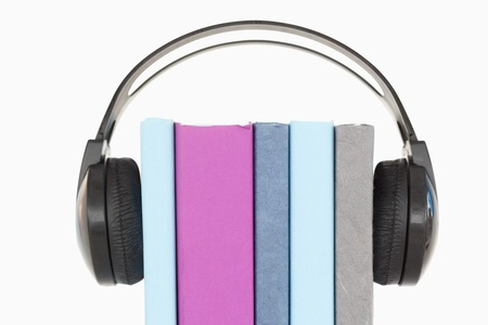 An audiobook concept against a white background photo