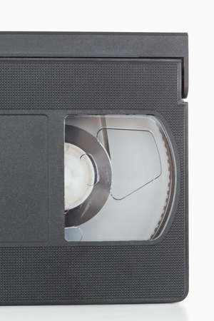 Close up of a video tape against a white background photo