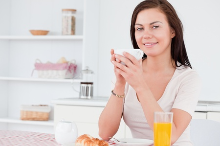 Woman having her breakfast in her kitchen Stock Photo - 10074137