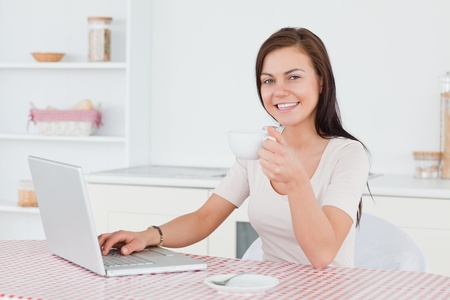 Charming brunette using her laptop and having a tea in her kitchen photo