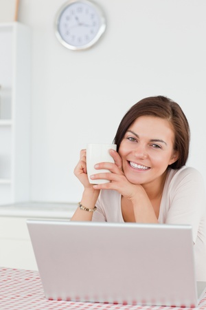 Smiling dark-haired woman using her laptop and having a tea in her kitchen photo